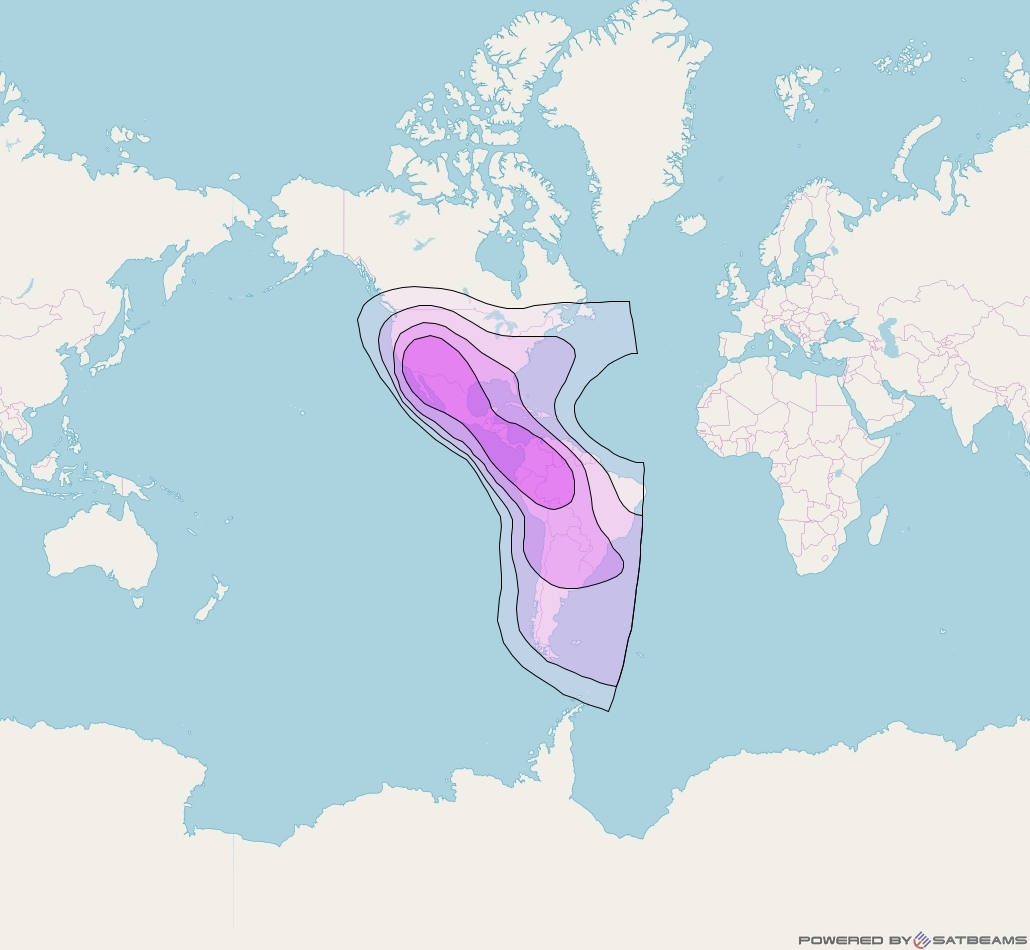 Eutelsat 117 West A at 117° W downlink C-band Hemi (CDH/CDV) beam coverage map
