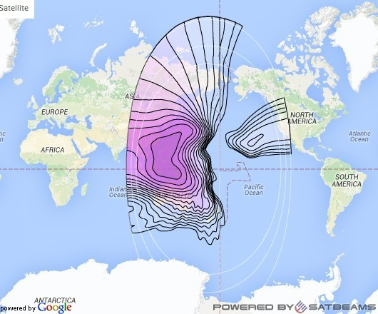 Intelsat 8 at 169° E downlink C-band Pacific (PACCH) beam coverage map