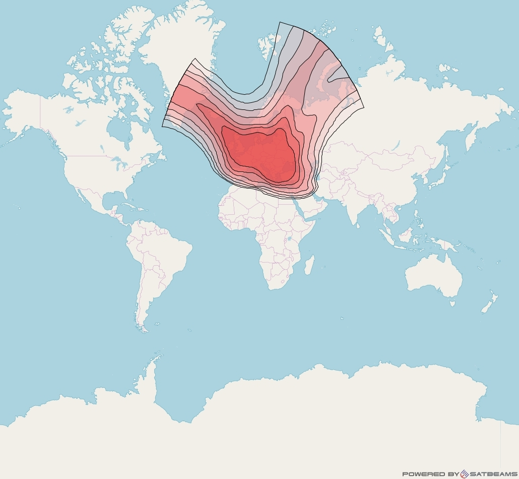 Eutelsat 16A at 16° E downlink Ku-band Europe B beam coverage map