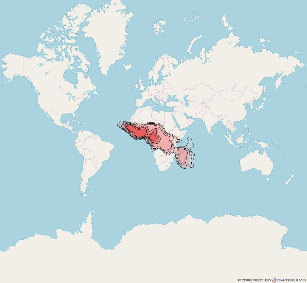 Eutelsat 16A at 16° E downlink Ku-band Sub Saharan Africa beam coverage map