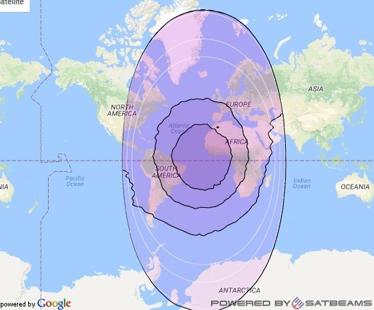 Intelsat 901 at 18° W downlink C-band Global B beam coverage map