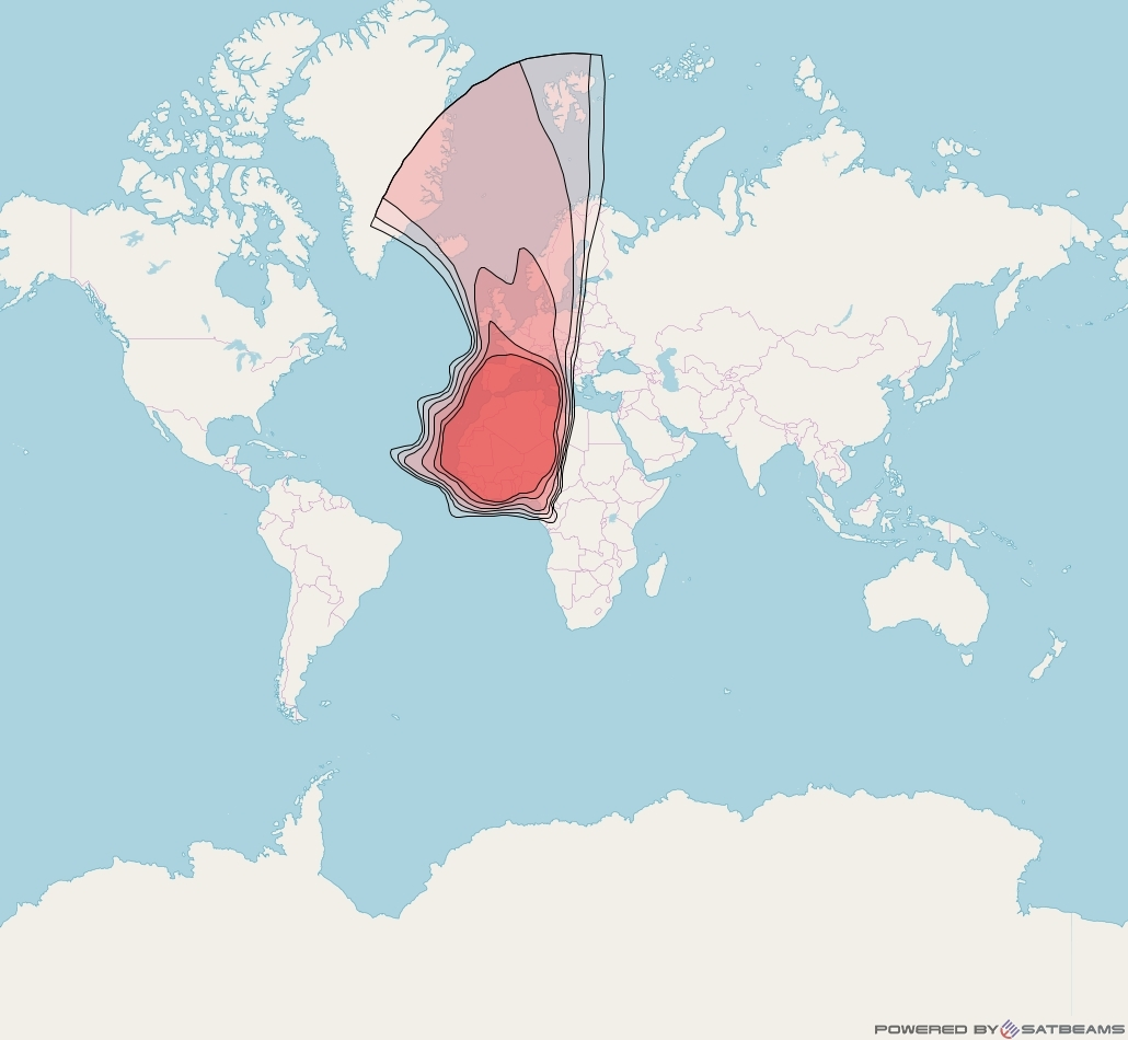 Eutelsat 21B at 21° E downlink Ku-band North-West Africa Europe beam coverage map
