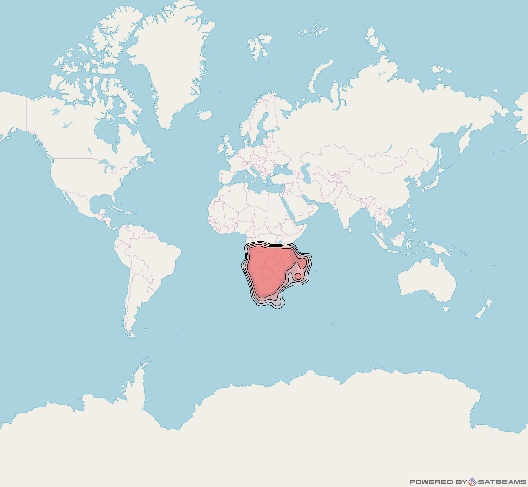 Badr 7 at 26° E downlink Ku-band FSS South Africa beam coverage map