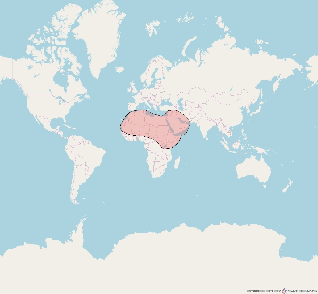 Arabsat 6A at 31° E downlink Ku-band BSS beam coverage map