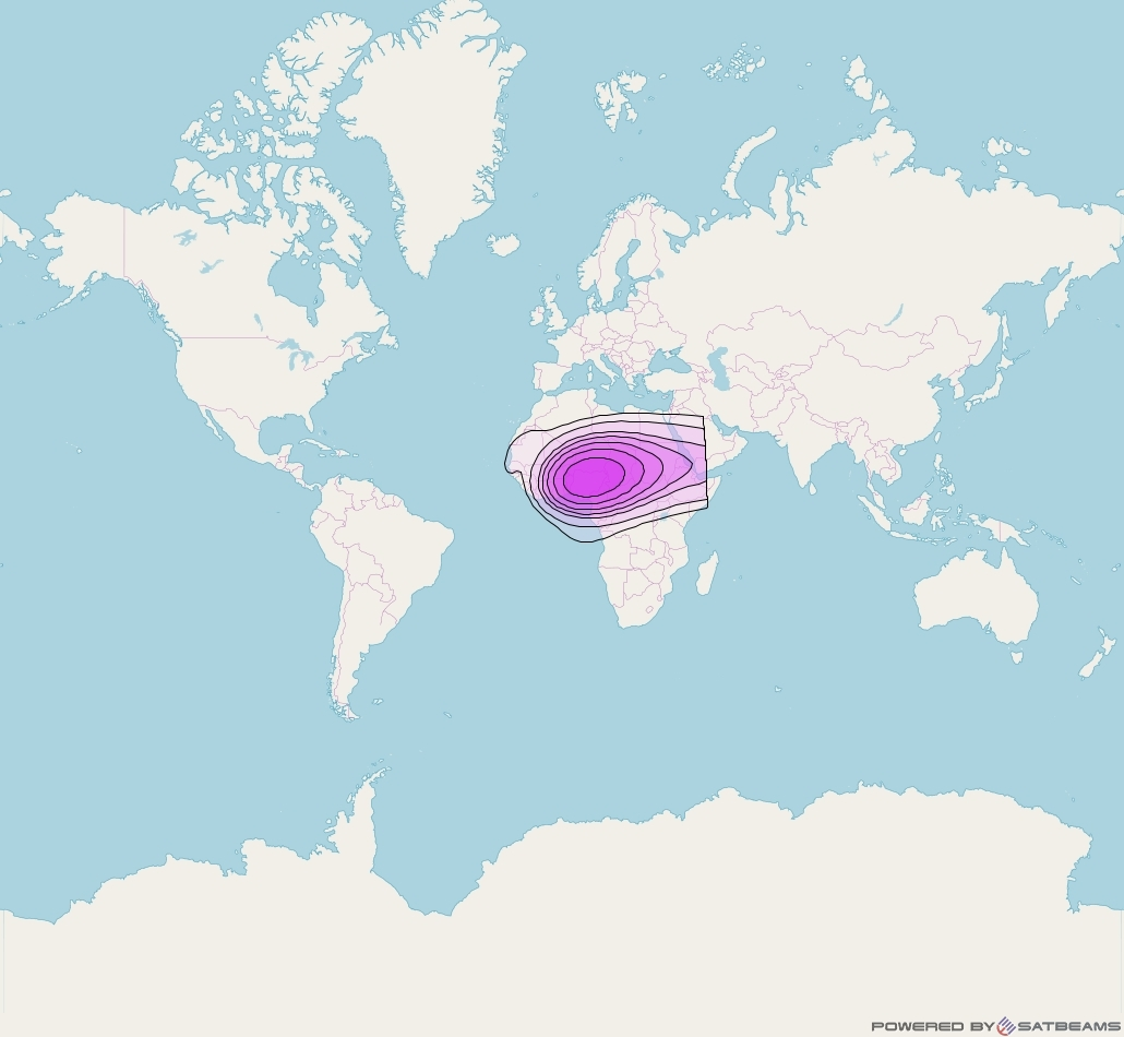 Intelsat 35e at 34° W downlink C-band C3 User Spot beam coverage map