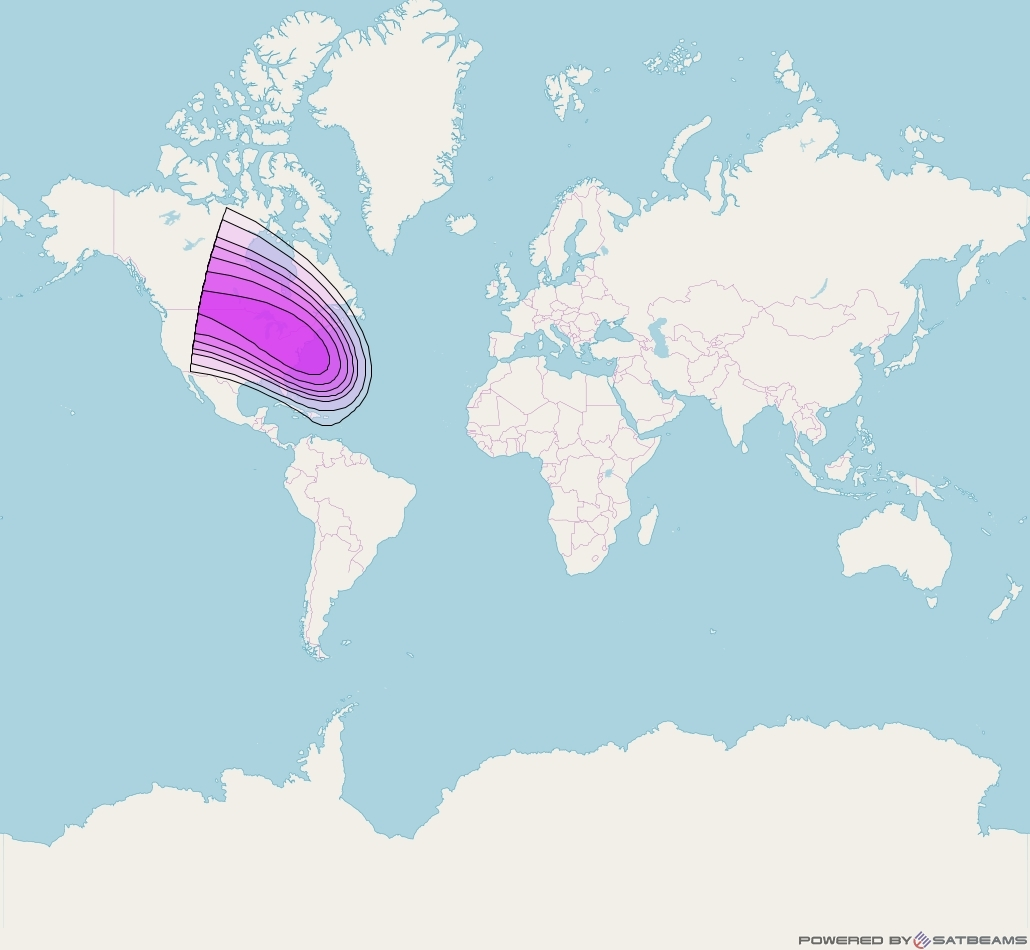 Intelsat 35e at 34° W downlink C-band C8 User Spot beam coverage map