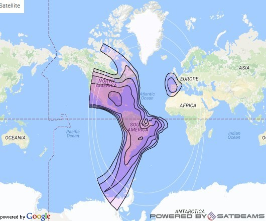 Intelsat 9 at 43° W downlink C-band Americas beam coverage map