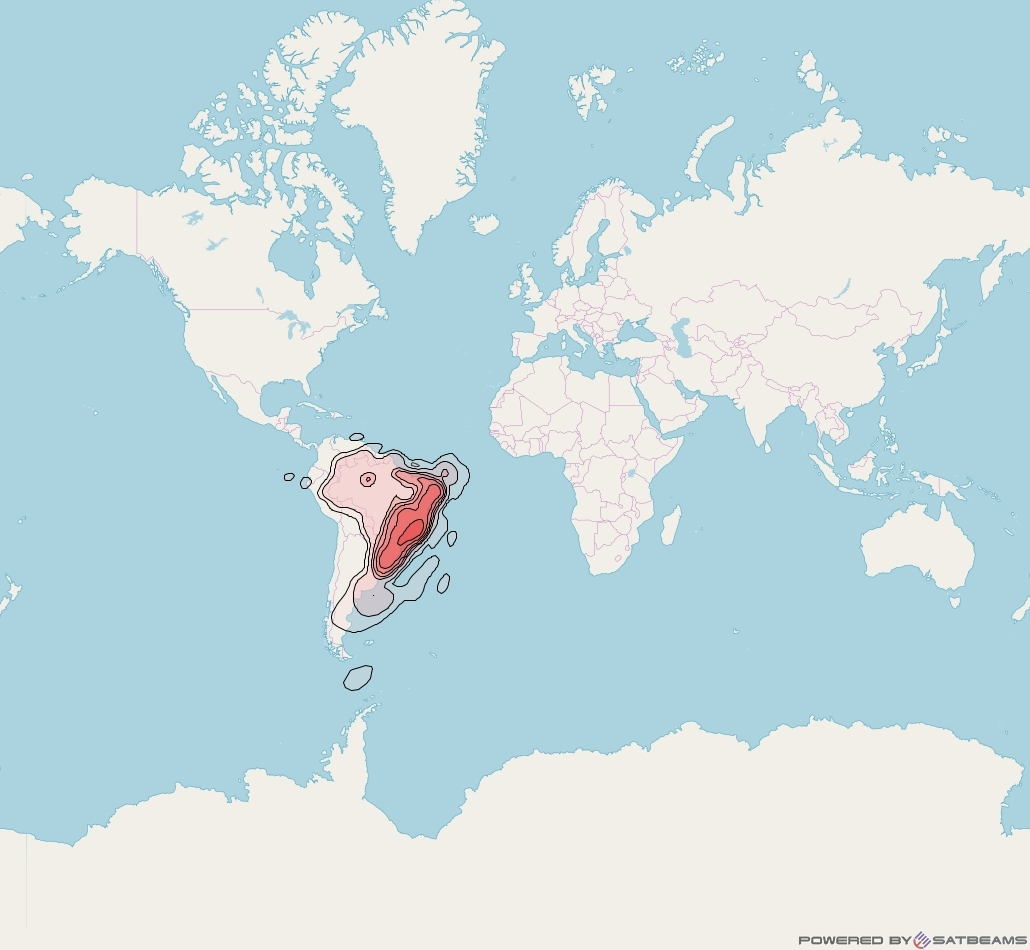 Intelsat 11 at 43° W downlink Ku-band Brasil Beam coverage map