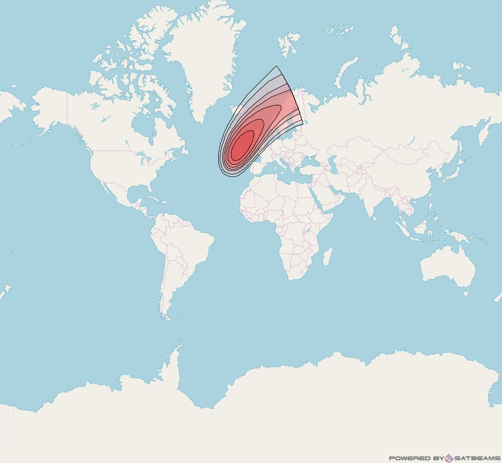 Intelsat 32e at 43° W downlink Ku-band U2VD User Spot beam coverage map