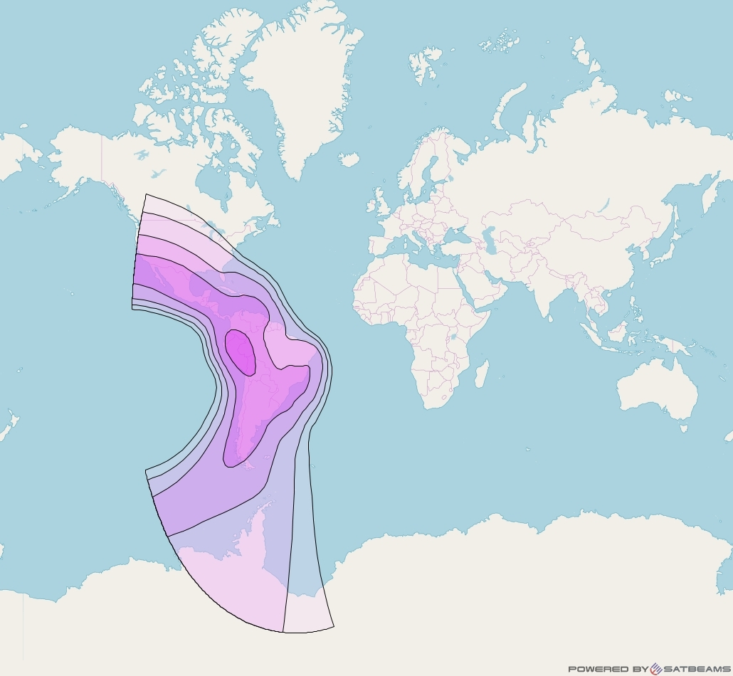 Intelsat 14 at 45° W downlink C-band Americas Beam coverage map