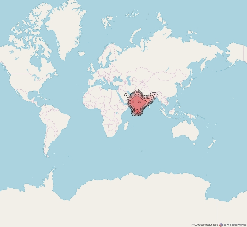 Intelsat 10 at 47° E downlink ku-band India beam coverage map
