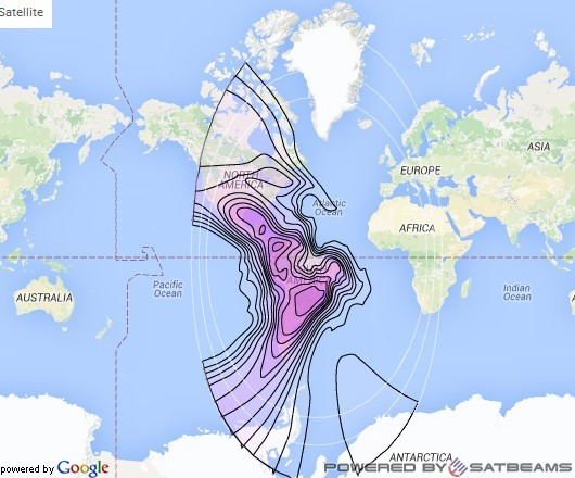 Intelsat 1R at 50° W downlink C-band Americas (ACHD) Beam coverage map