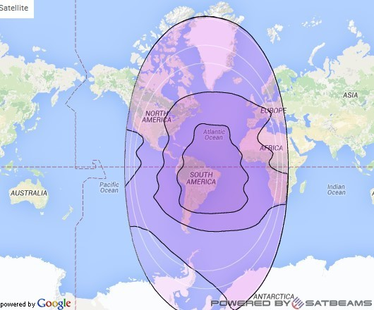 Intelsat 1R at 50° W downlink C-band Global (GCVD) beam coverage map