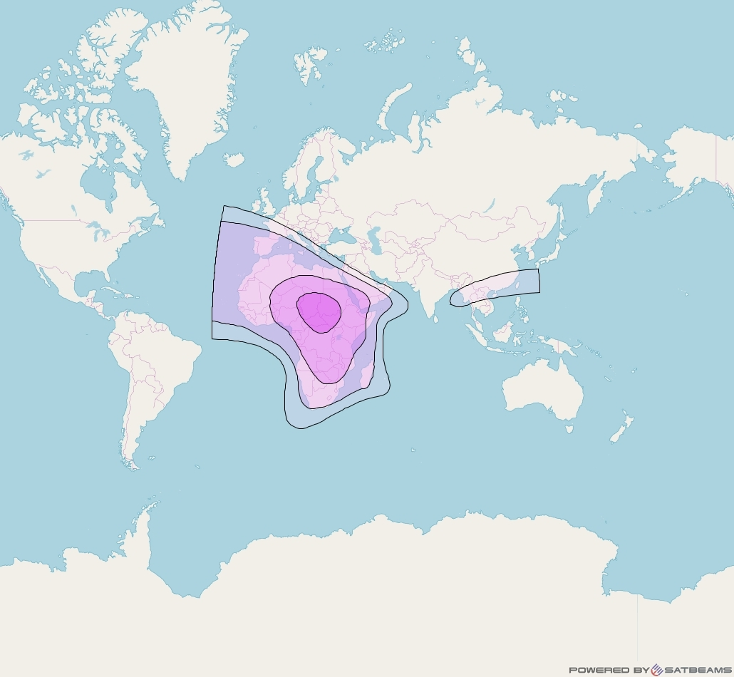 BELINTERSAT-1 at 51° E downlink C-band Africa beam coverage map