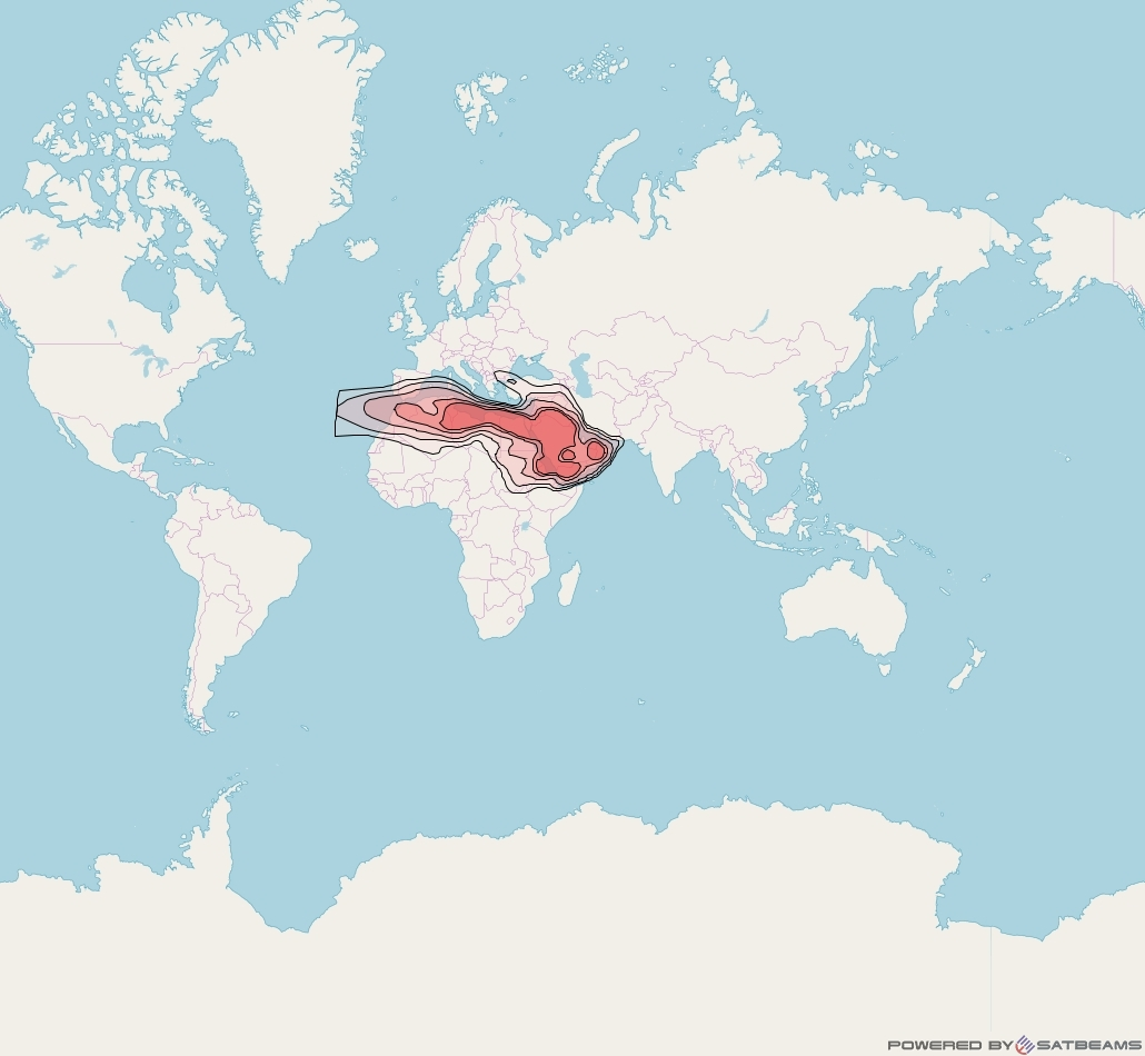 Yahlive at 53° E downlink Ku-band MENA (West) beam coverage map