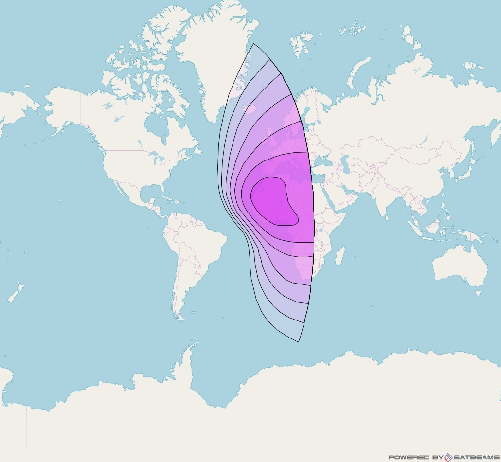 Intelsat 23 at 53° W downlink C-band East Hemi Beam coverage map