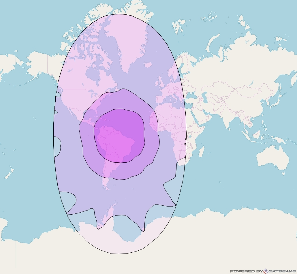 Intelsat 23 at 53° W downlink C-band Global beam coverage map