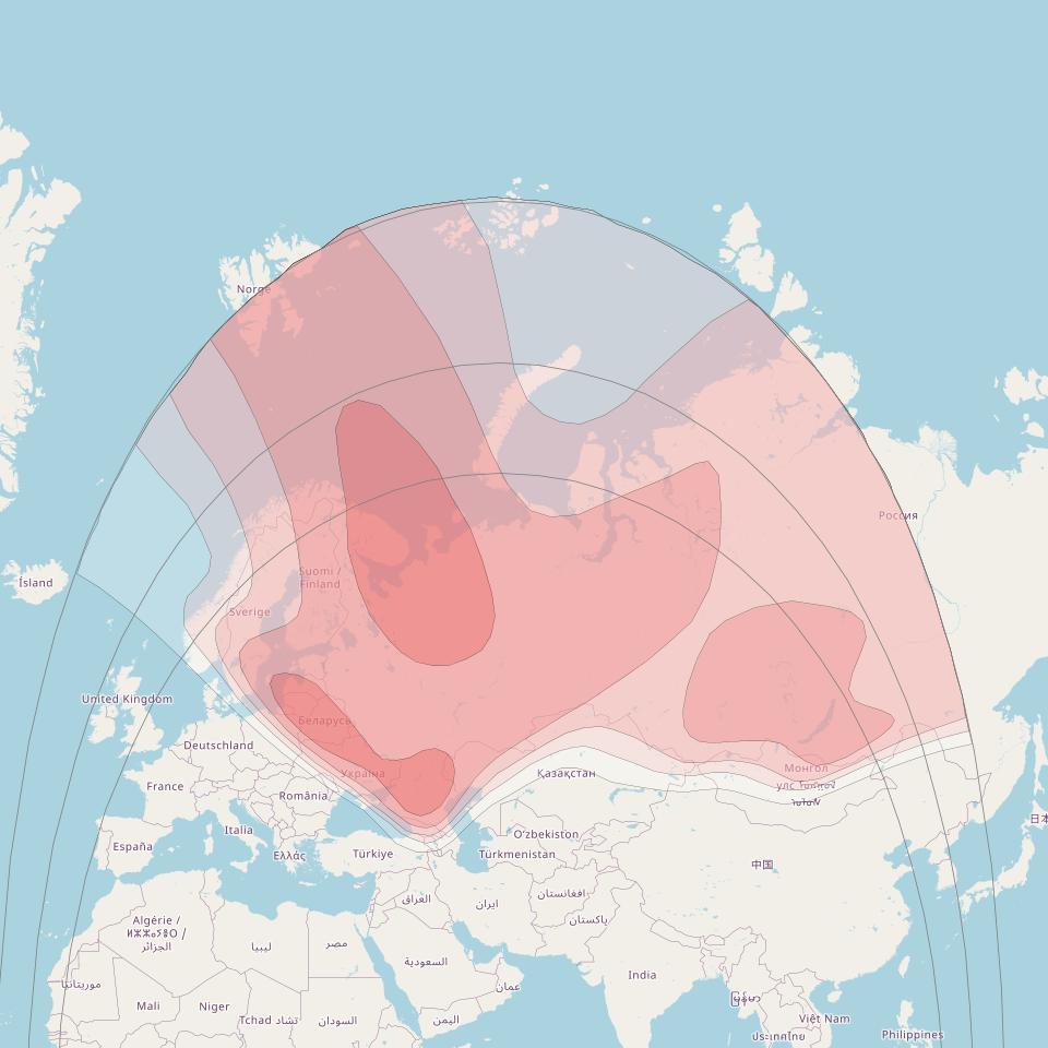 Экспресс АТ1 при 56 ° E нисходящей линии Ку-диапазона карте Широкий охвата луча