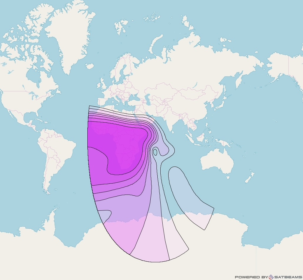Intelsat 33e at 60° E downlink C-band Sub-Saharan beam coverage map