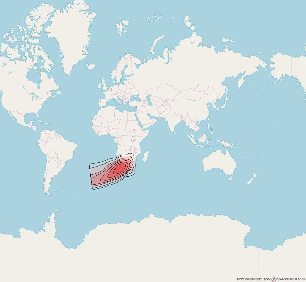 Intelsat 33e at 60° E downlink Ku-band GW1 Gateway Spot beam coverage map