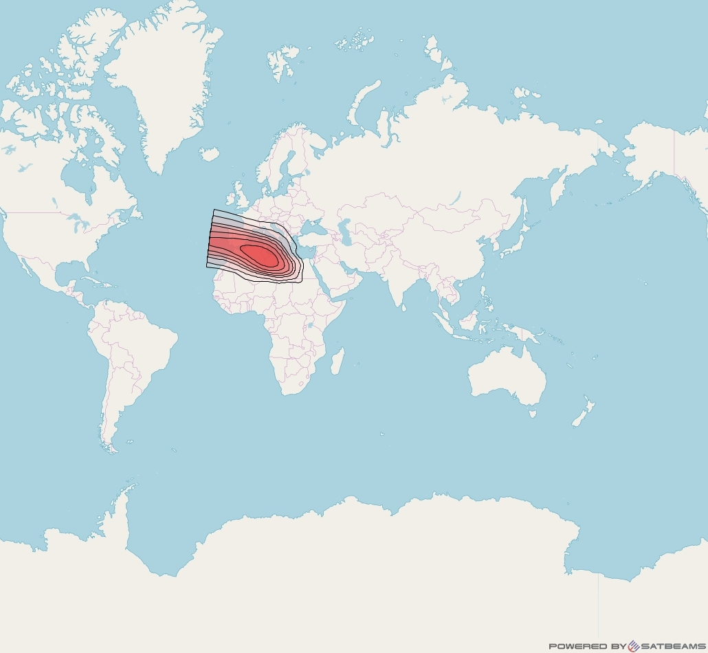Intelsat 33e at 60° E downlink Ku-band U25 User Spot beam coverage map