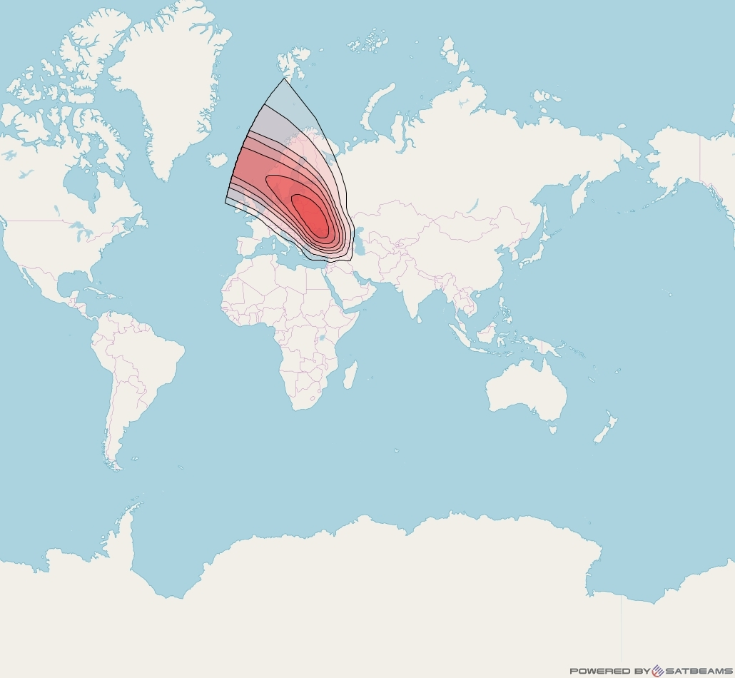 Intelsat 33e at 60° E downlink Ku-band U29 User Spot beam coverage map