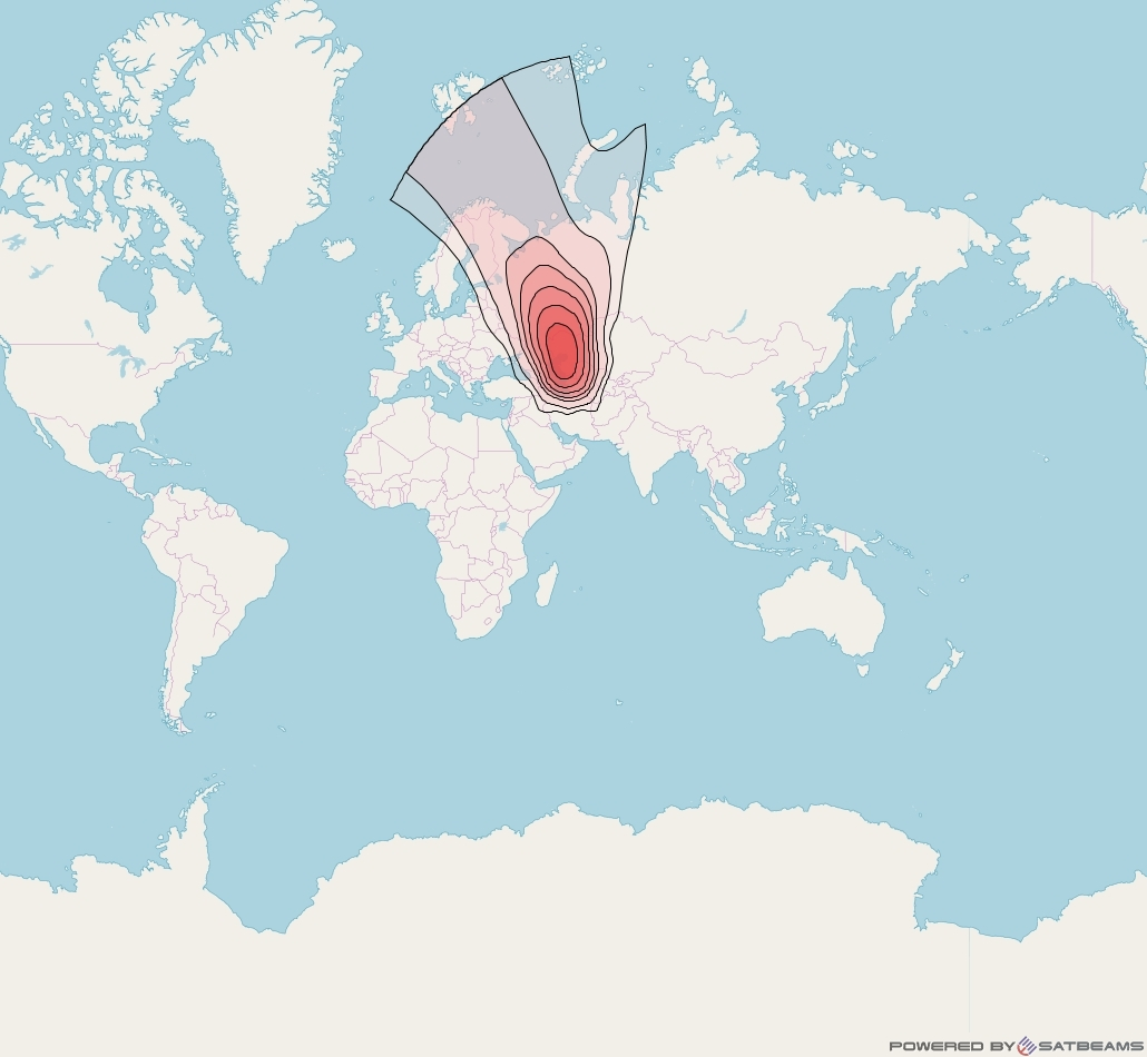 Intelsat 33e at 60° E downlink Ku-band U41 User Spot beam coverage map