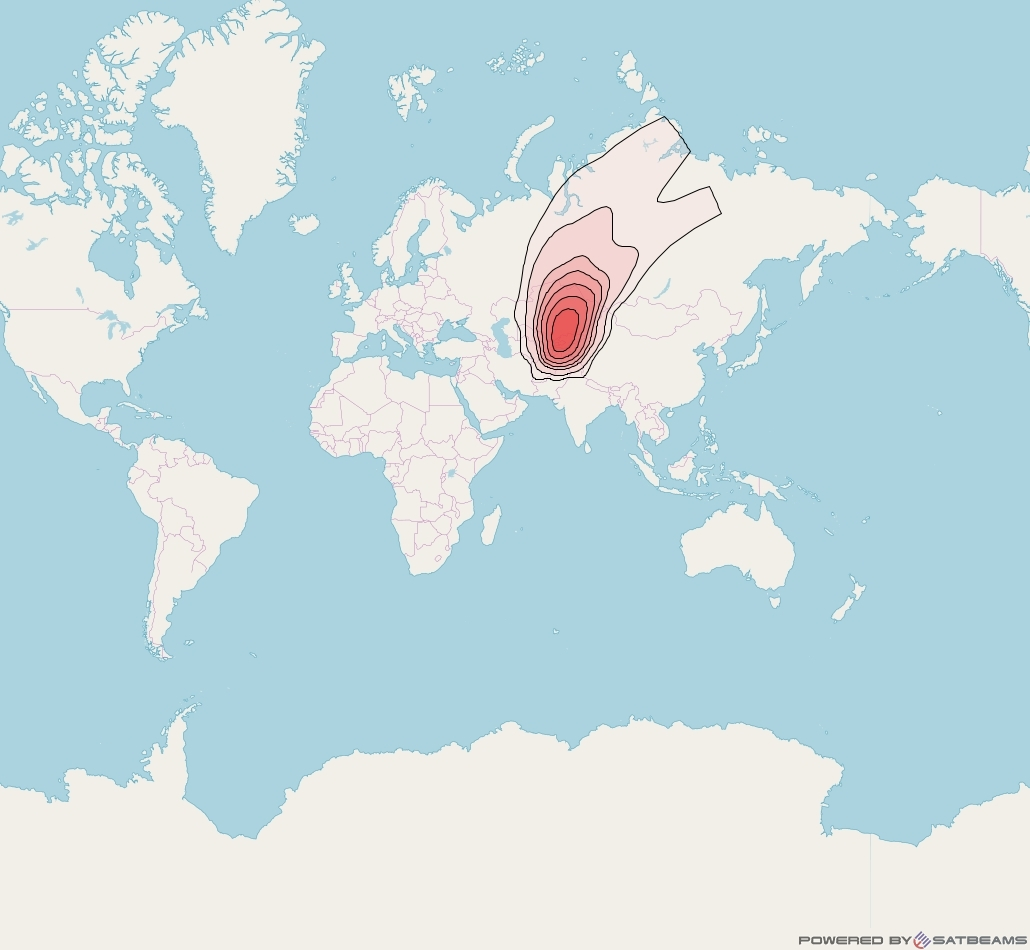 Intelsat 33e at 60° E downlink Ku-band U50 User Spot beam coverage map