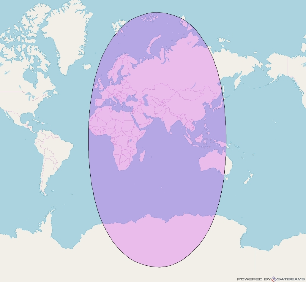 Intelsat 906 at 64° E downlink C-band Global Beam coverage map