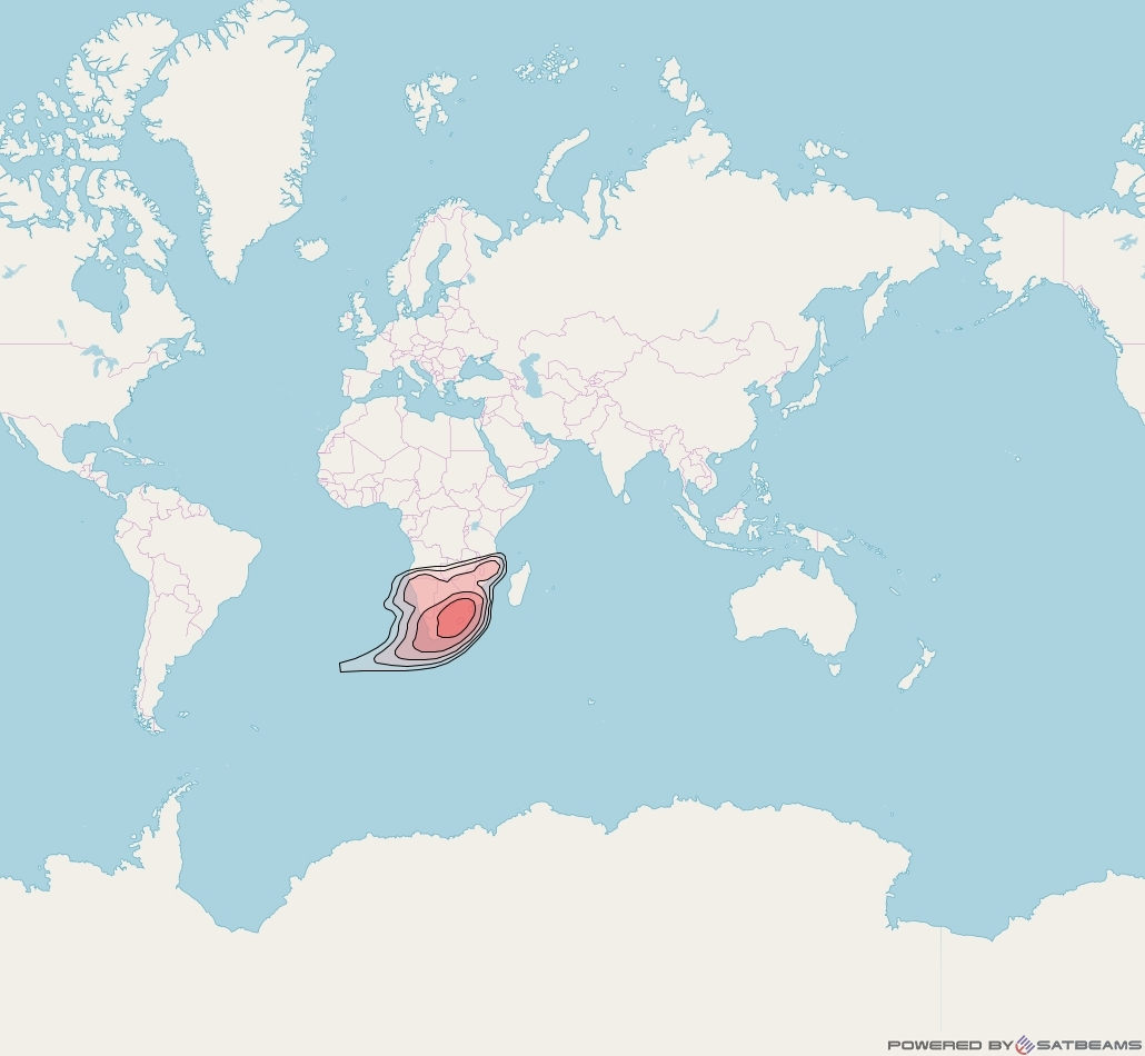 Intelsat 20 at 69° E downlink Ku-band South Africa (SAFKH) beam coverage map