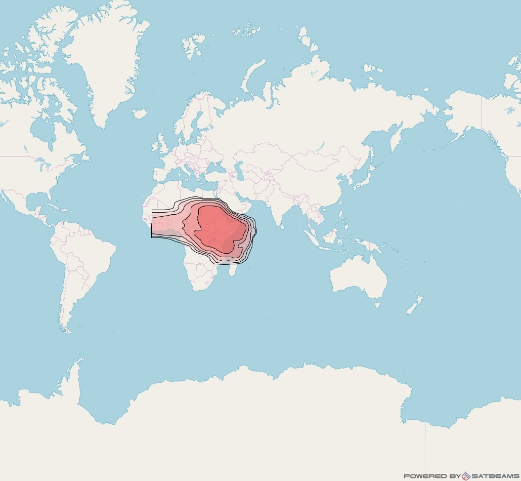 Eutelsat 70B at 70° E downlink Ku-band Africa beam coverage map