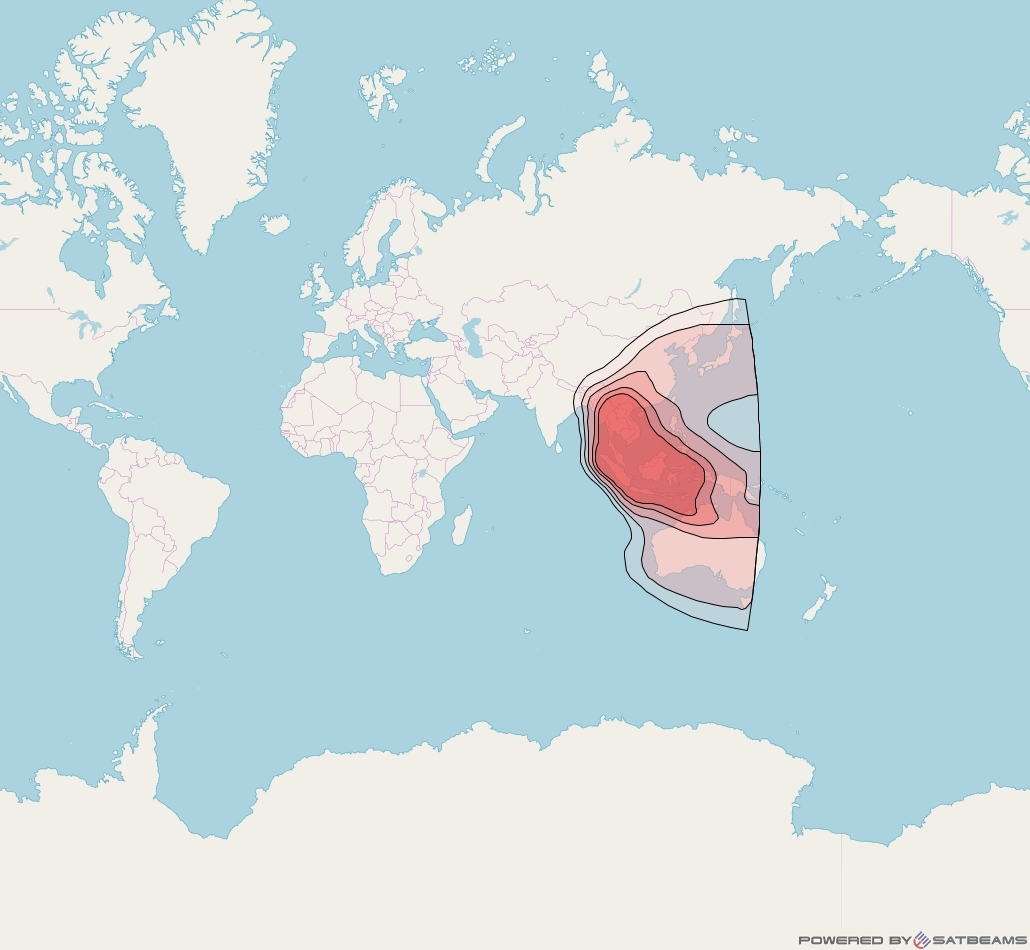 Eutelsat 70B at 70° E downlink Ku-band Asia beam coverage map