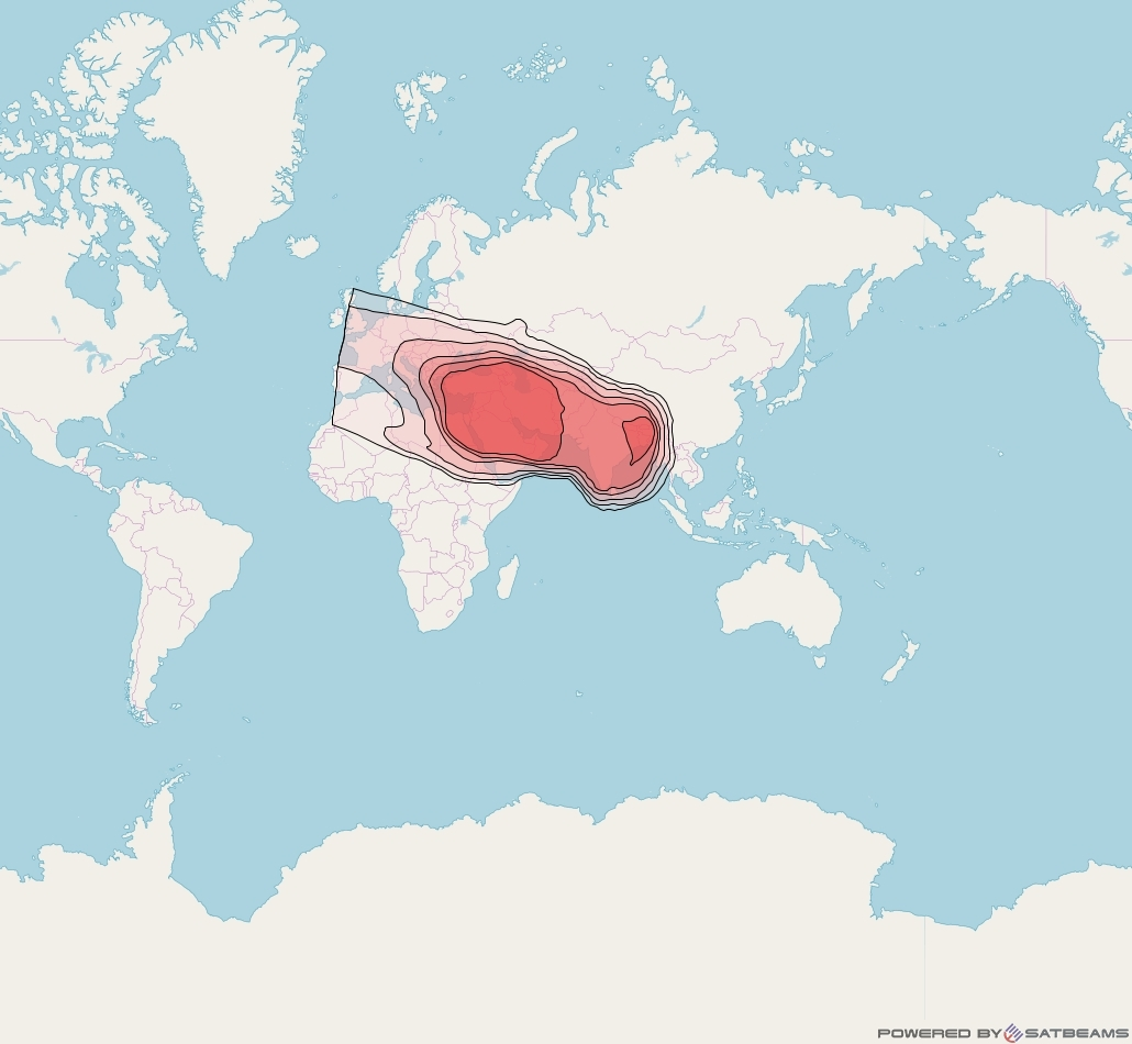 Eutelsat 70B at 70° E downlink Ku-band Wide beam coverage map