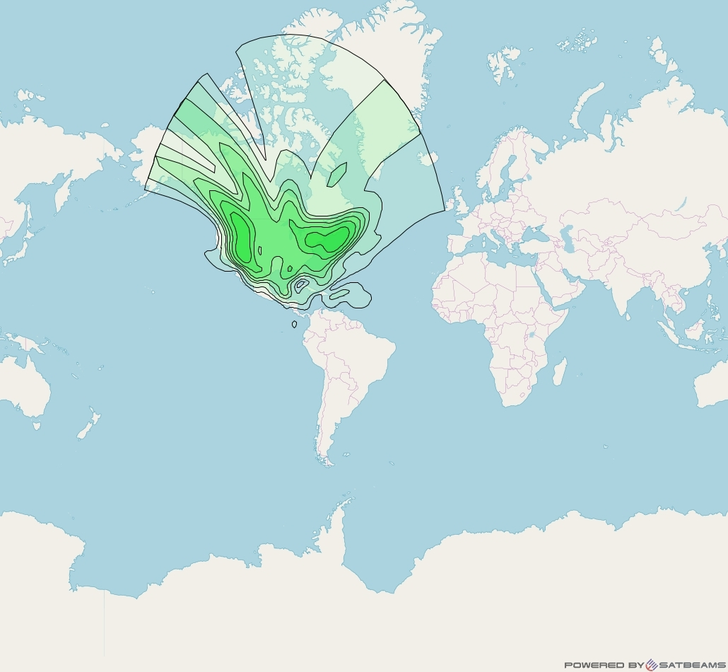 Sirius FM-5 at 86° W downlink S-band CONUS beam coverage map